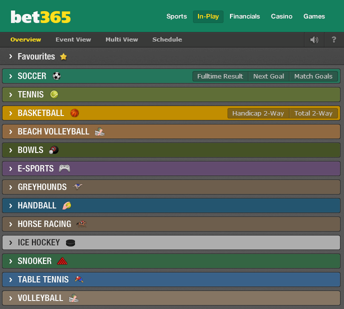 bet365 in play sports