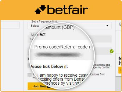 Location of the Betfair promo code box