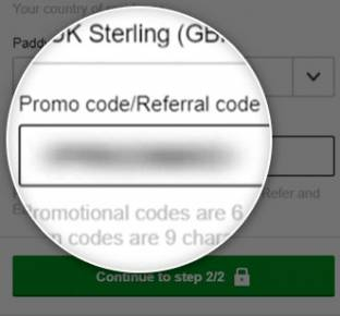 Location of the Paddy Power promo code box