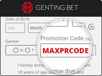 Location of the Genting Bet promo code box - MAXPRCODE